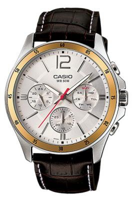 mtp-1374L-7a đồng hồ dây da sáu kim casio